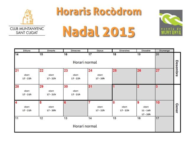 Horaris Rocodrom Nadal 2015