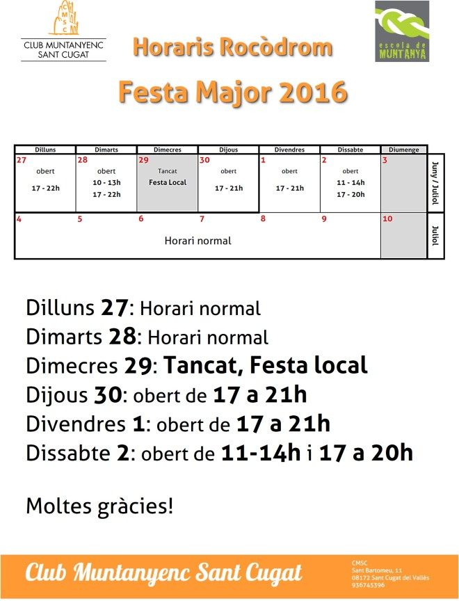 Horaris 2016 - Festa Major